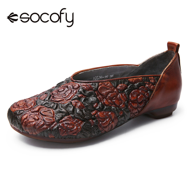 Socofy Women Flats Vintage Genuine Leather Rose Pattern Flat Shoes Women Loafers Casual Shoes Woman Slip-on Retro Working Flats 2018 new genuine leather flat shoes woman ballet flats loafers cowhide flexible spring casual shoes women flats women shoes k726
