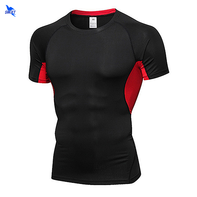 Quick Dry Slim Fit Tees Men Patchwork Mesh T-Shirts Compression Shirt Tops Gym Bodybuilding Fitness O-Neck Short Sleeve T Shirt