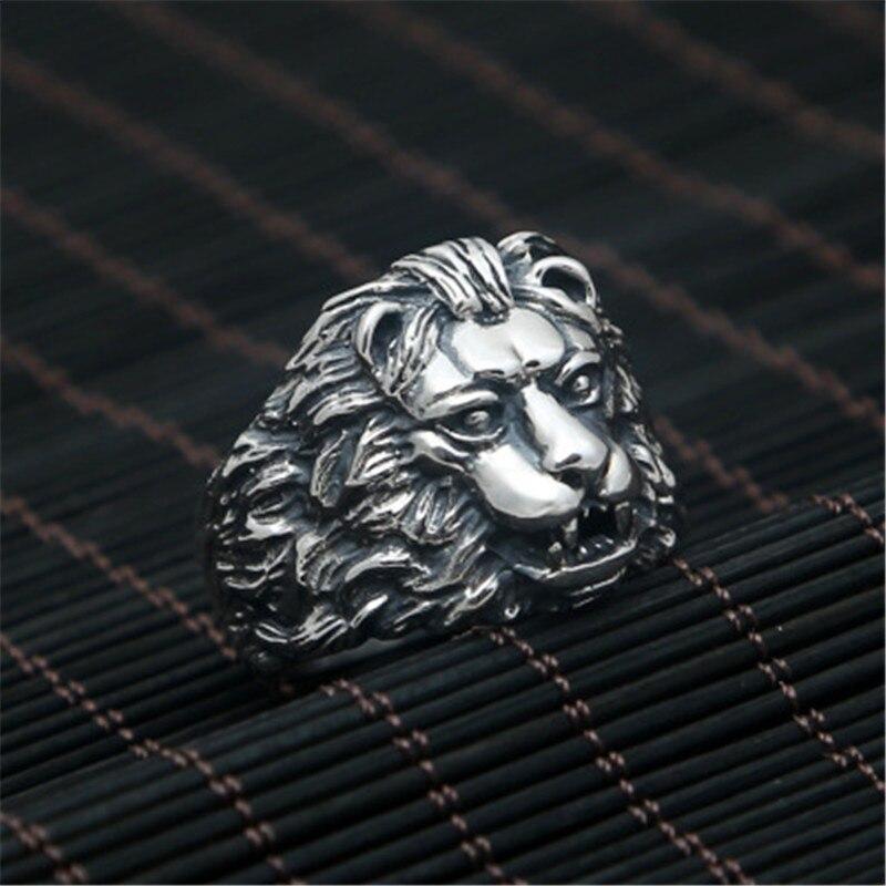 BESTLYBUY véritable 100% 925 argent Sterling Vintage Punk Locomotive Lion roi anneau pour femmes hommes bijoux de mode