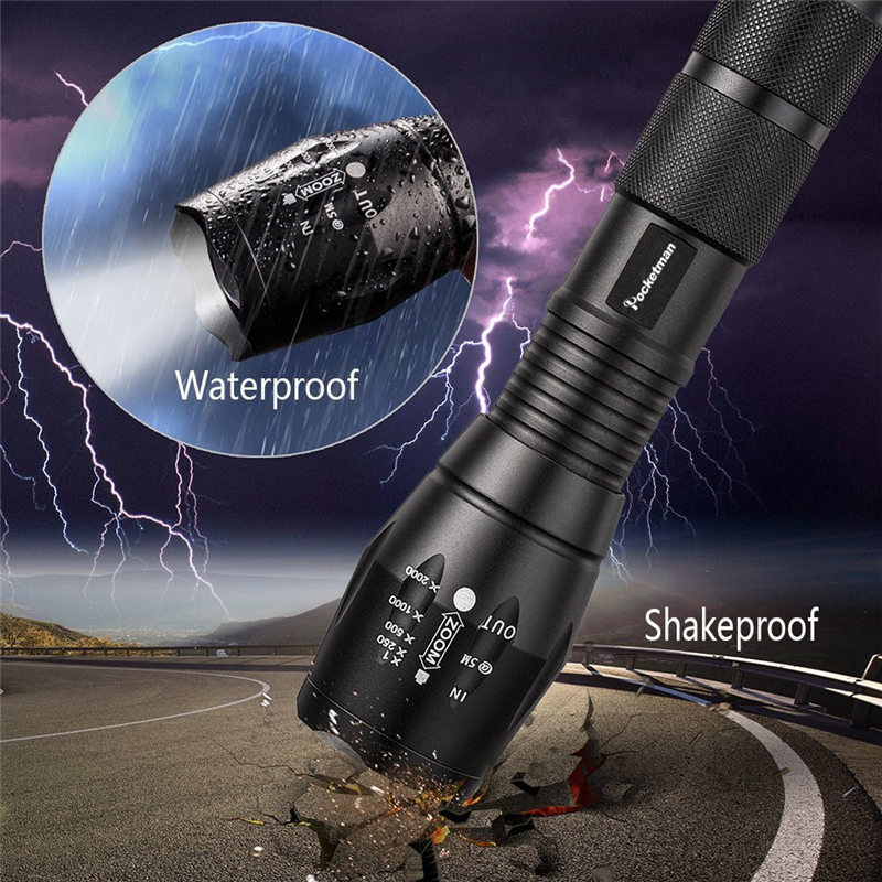 Купить с кэшбэком Waterproof Most Powerful LED Flashlight High Power 5 Mode XM-L T6 L2 V6  Zoomable Rechargeable Focus Torch  1*18650 or 3*AAA 92