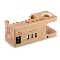 3 In 1 Universal 3 Port USB Mobile Phone Charger Wood Holder Charging Dock Stand Charging