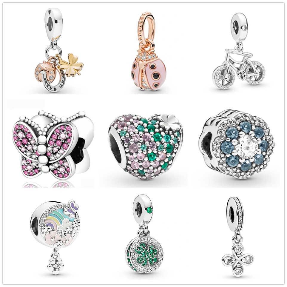 925 ayar gümüş yonca ve uğur böceği renkli kalp çiçek kolye DIY güzel boncuk Fit orijinal Pandora Charm bilezik takı
