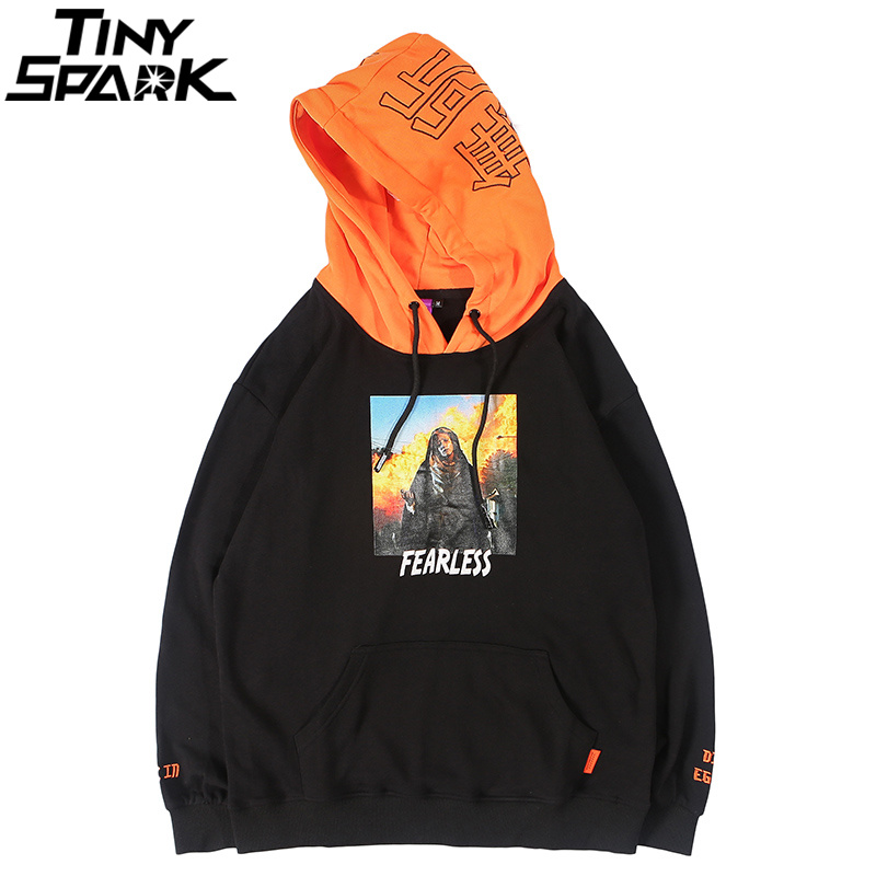 Urbains Coton Hop Black Orange Pull A93wy8129 Automne Capuche Intrépide a93wy8129 Sweat Chinois Streetwear Lettre À Hommes Patchwork Hip Hoodies 2018 Vêtements 17Sawa