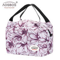Aosbos Fashion Portable Insulated Canvas Lunch Bag Waterproof Picnic Thermal Lunch Box Bags Cooler Tote Bag for Women Kids Girls