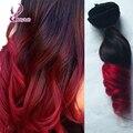 Ombre rizado rojo remy extensión del pelo humano clip ins 7 Unids/set naturales extensión del pelo cabeza completa conjunto 100g top de la moda