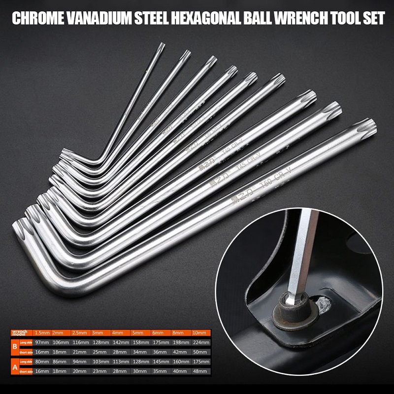 9 PCS/Set Inch Size Durable Ball End Hex Wrench Allen Key Hand Tools Kits Accessories Spanner Set Household Repair Tool 1pcs industrial grade long ball hex wrench hand tools 12mm