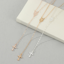 Cross Pendant Necklace Women Hot Selling Sparkly Coin Necklaces Long Imitation Chain Rosary Madonna Pendants Religious Jewelry