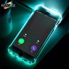 Kisscase tpu chamada luz caso para iphone xr 8 7 6 plus xs telefone led casos anti knock flash capa para iphone 11 xs max x 10 escudo