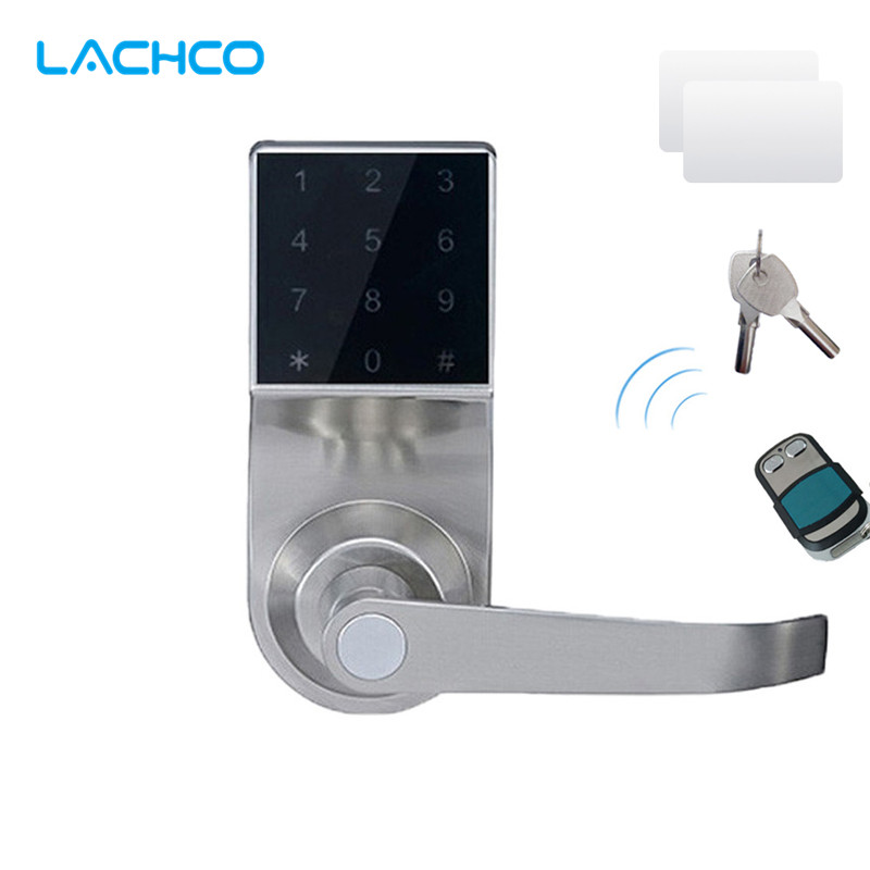 LACHCO Hide Key Touch Remote control Screen Keypad Password Spring Bolt Access Smart Electronic Door Lock