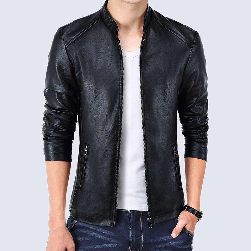 Miracle Men Leather Jacket Stand Collar PU Faux Leather Motorcycle Jackets