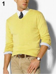 Top Quality 100% Cashmere Men's Long Sleeve V Neck Sweaters, 12 ...