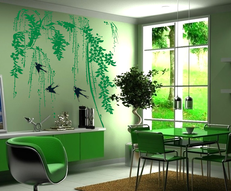 Green Tree Wall Stickers Home Decor Spring Style Living