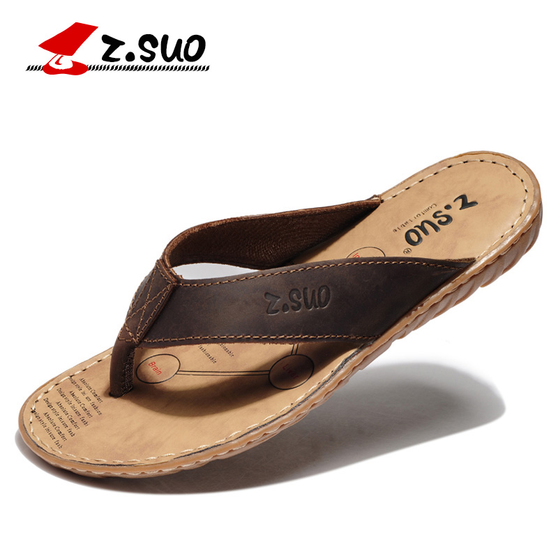 Z Suo men s flip flops leisure fashion leather flip flops goosegrass sole waterproof sandals Sandalias
