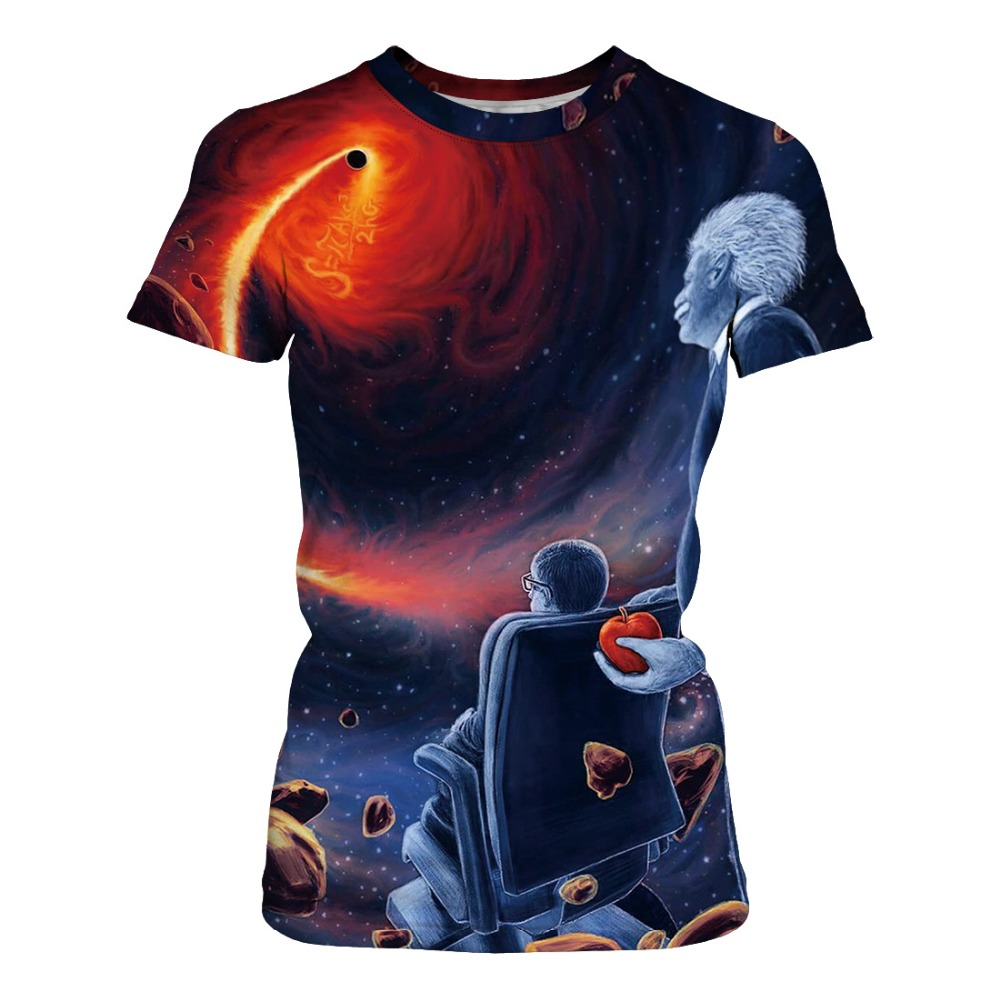 Space Black hole Women Top T-shirt Short O-Neck Streetwear Paisley Print Tshirt plus size tops female T-shirt ladies black tops