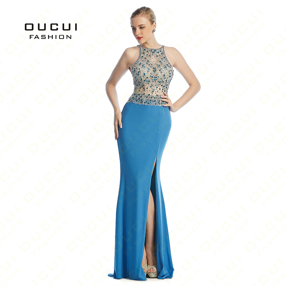 Real Photos Long Elegant Prom Dresses Jersey Fabric withe Tulle Beading Hand Make Evening Dress Gown OL102885