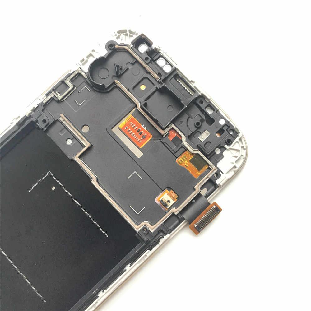لسامسونج غالاكسي S4 GT-i9505 i9500 i9505 i9506 i9515 i337 شاشة إل سي دي باللمس شاشة مع الإطار محول الأرقام 5.0 بوصة شاشة الكريستال السائل