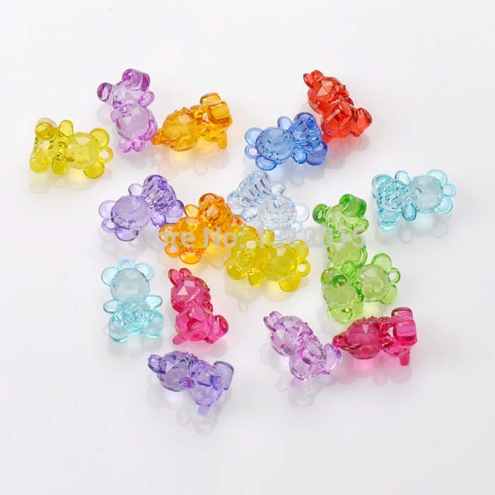 70PCs Mixed faceted Acrylic Crystal Bear Charms beads For