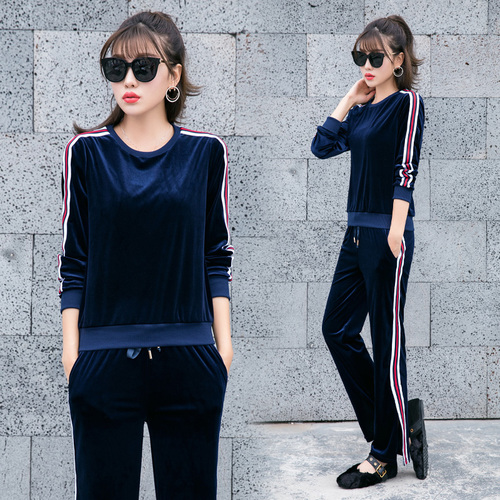 Large Velours Or noir 2 Conjunto bleu Ensemble Rouge Jambe Feminino De vert Des Survêtements Pantalon Costume Femmes Femme Automne Survêtement Pièce n0qw8RqY