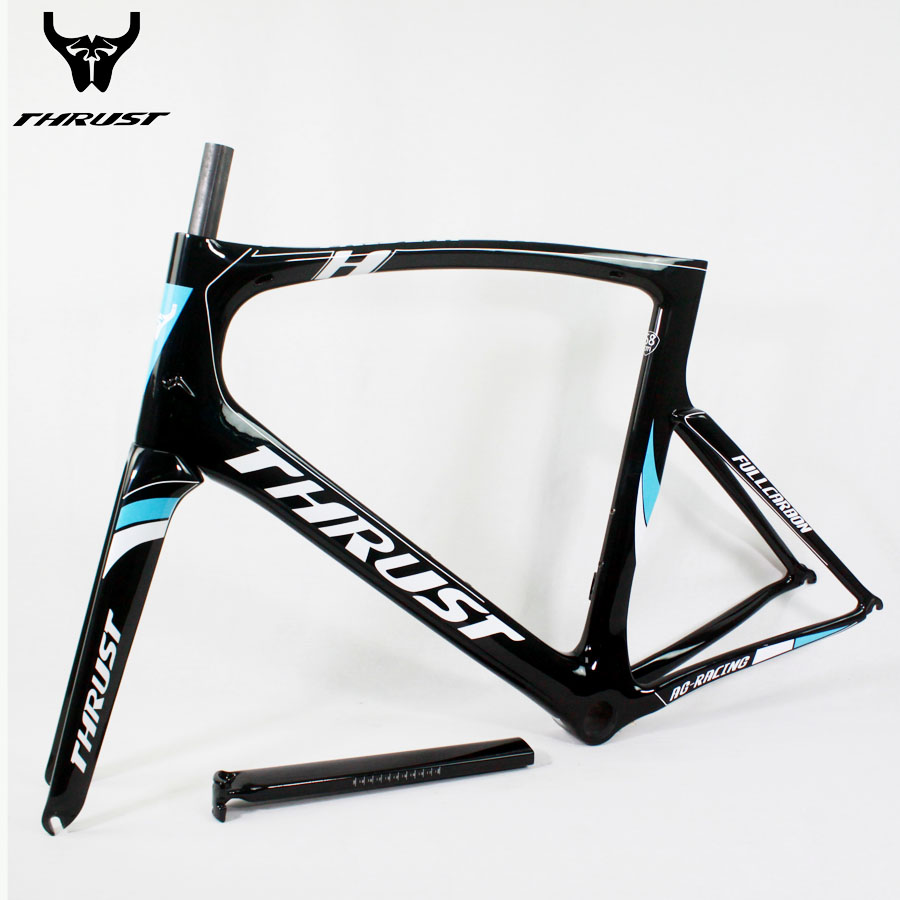 Carbon Road Frame Bike Large Size 46 49 52 54 56 58cm Blue Road Bike Bicycle Frame with Fork Seatpost Clamp Headset Carbon Frame 2018 winow aero road carbon bike frame china oem full carbon aero frame with fork seatpost clamp headset more color