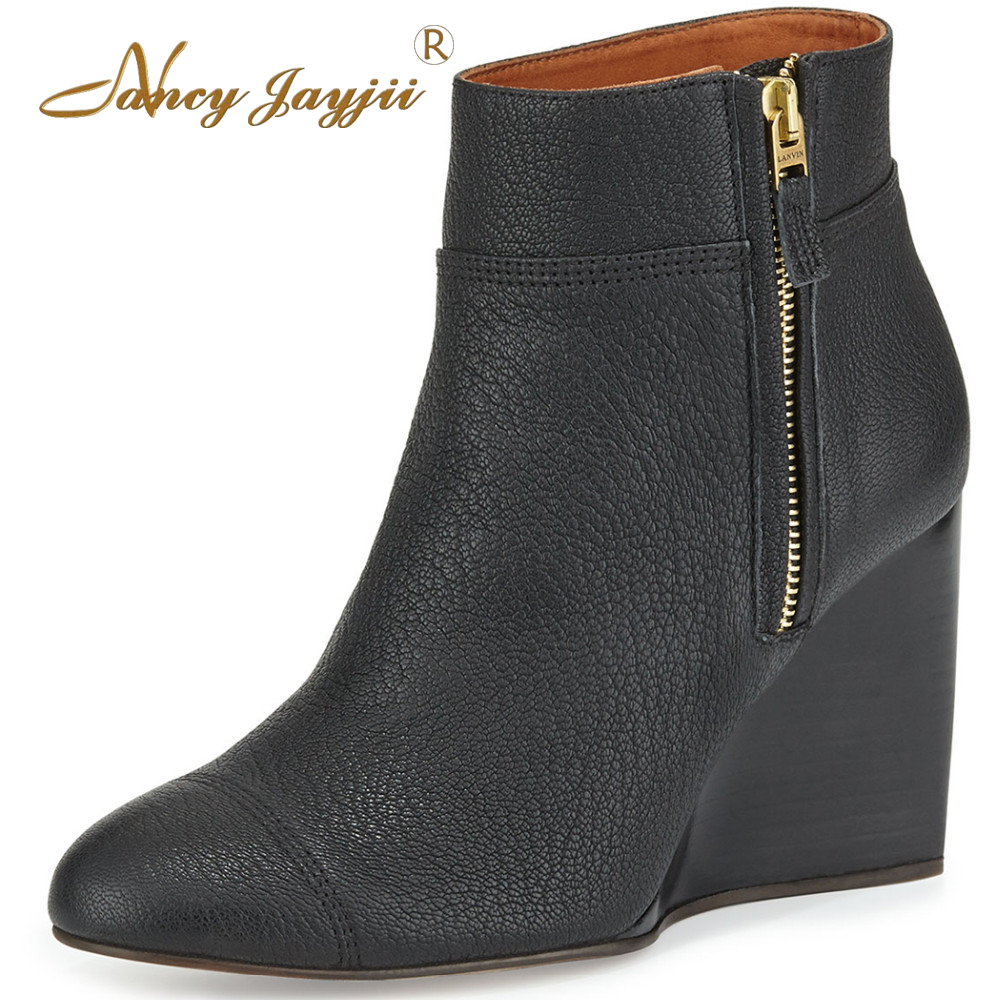 Women Genuine Leather Winter Snow Black Suede Point Toe Wedges Ankle Boot Shoes for Woman zapatos botas mujer plus size 5 14 nancyjayjii 2017 fashion lady black suede peep toe high heels ankle boots shoes for woman zapatos botas mujer plus size 5 14