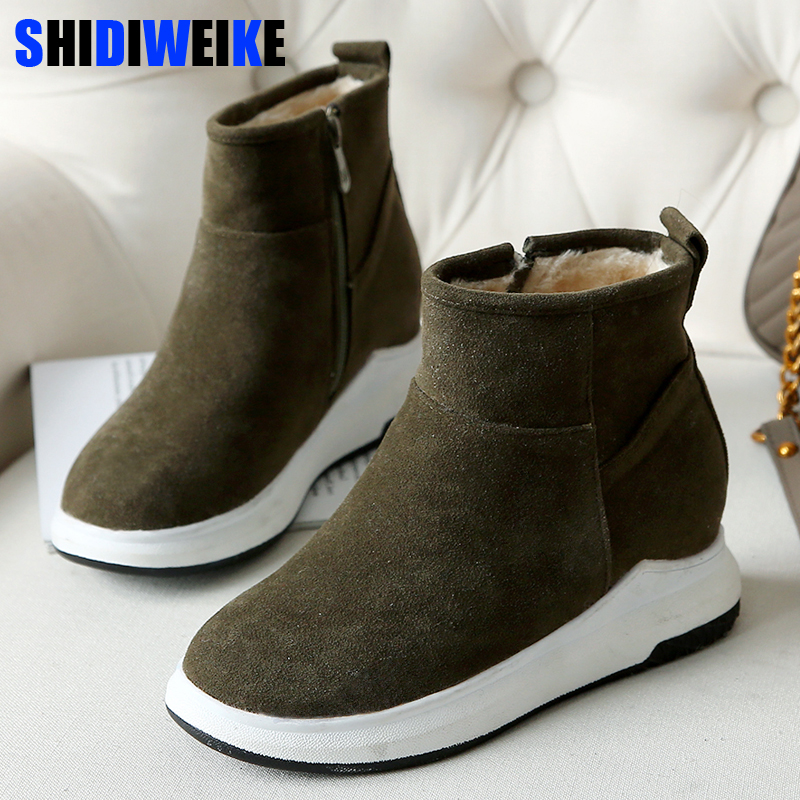 New Women Winter Boots Flock Ankle Snow Boots Female Warm Fur Plush Insole High Quality Botas Mujer Zip Shoes n179 women boots winter shoes female plush inside snow boots high quality flock ankle boots lace up flats women shoes botas fashion