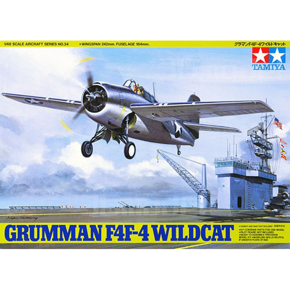 OHS Tamiya 61034 1/48 Grumman F4F-4 Wild-Cat Assembly Airforce Model Building Kits oh цена