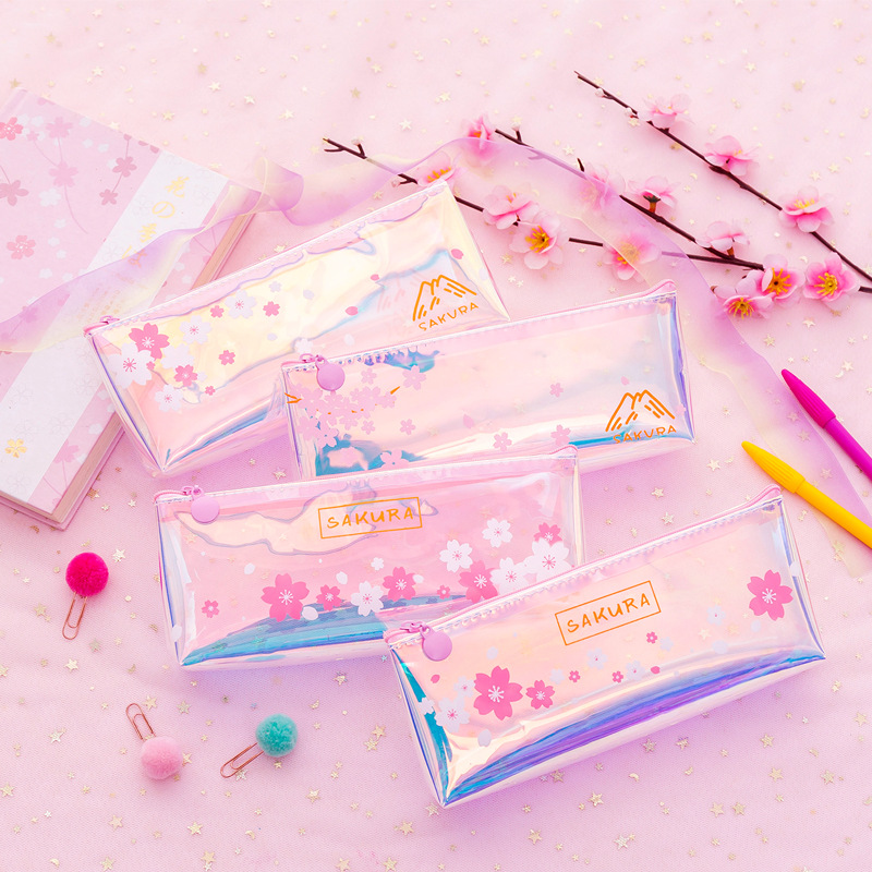 1 Pcs Cute Pink Transparent Sakura Laser Pencil Case Stationery Pouch Storage Office School Supplies Pencil Bags For Girl