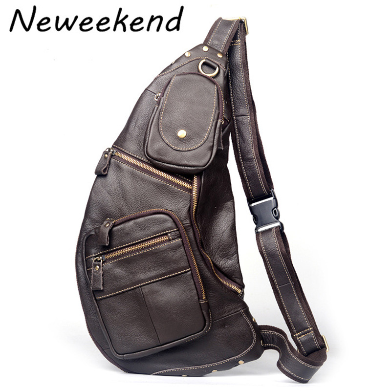 NEWEEKEND Casual Genuine font b Leather b font Cowhide Multi Pocket Small Chest Single Shoulder Phone