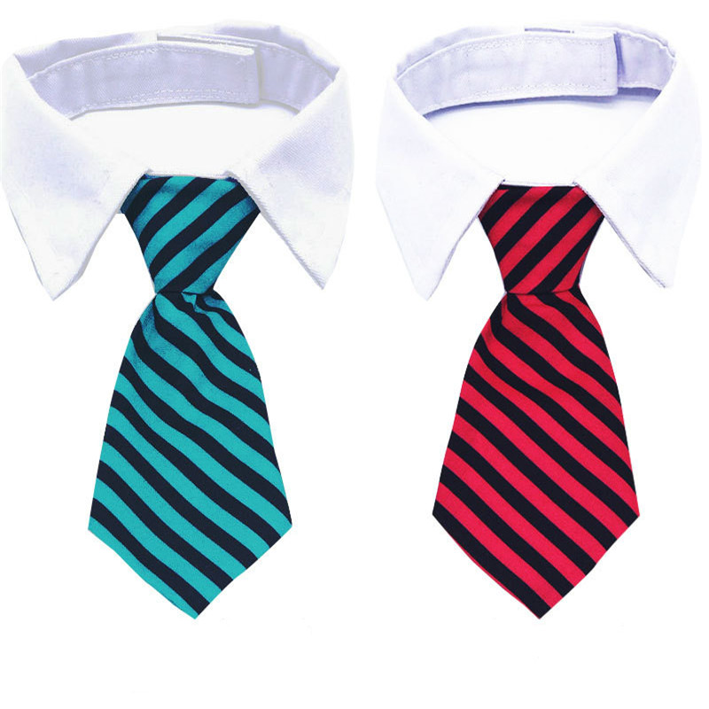 Dog Grooming Cat Colorful Striped Bow Tie Animal Striped Bowtie Collar Pet Adjustable Neck Tie White Dog Necktie Party Wedding