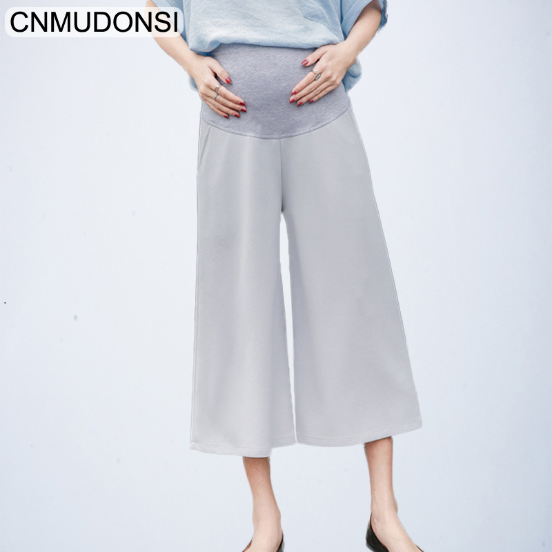 CNMUDONSI Pregnant women pleated wide-legged   pants   2018 spring new fashion maternity plteated trousers solid color belly   capris