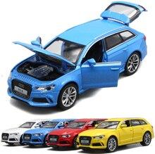 مقياس 1:32 من Audi RS6 Quattro موديل سيارة فاخرة من خليط معادن معدني يمكن سحبها للخلف ألعاب أطفال مع مجموعة شحن مجاني