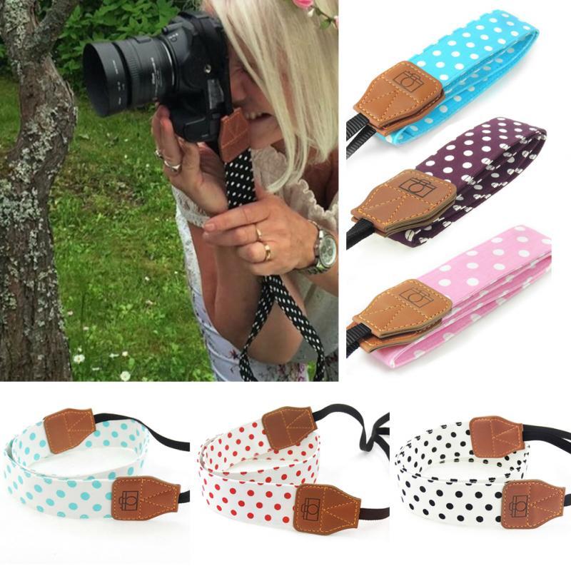 Universal Retro Polka Dots Blue Shoulder Belt Camera Strap Neck Photo Strap For Canon Nikon Sony Pentax Leica Fuji Olympus DSLR