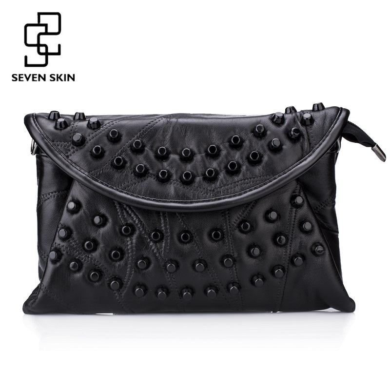 SEVEN SKIN Fashion Design Women Messenger Bags Female Solid Leather Small Shoulder Bags Envelope Women Clutch Bag Bolsa Feminina trendy women s clutch with envelope and twist lock design