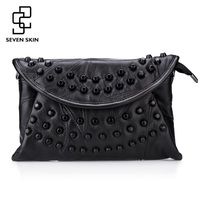 SEVEN SKIN Fashion Design Women Messenger Bag Female Genuine Leather Small Shoulder Bag Envelope Women Clutch