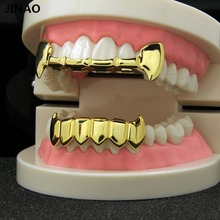 JINAO New Custom Fit Gold Color Plated Hip Hop Teeth Half Fang Top & Solid Fangs Bottom Grillz Vampire Set.Gift