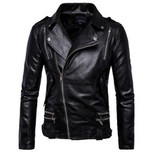 New Retro Vintage Motorcycle Jacket Mens Spring Autumn PU Leather Sash Zipper Biker Punk Classic Turn Down Collar Size M-5XL down jacket m 5xl 108