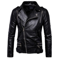 New Retro Vintage Motorcycle Jacket Mens Spring Autumn PU Leather Sash Zipper Biker Punk Classic Turn