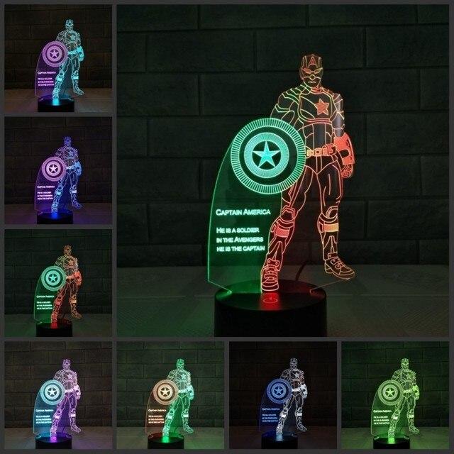 Justiça Cavaleiro Superhero 3D Placa de Acrílico LED RGB Luz Da Noite das Crianças Brinquedos Casa Decoração de Mesa Candeeiro de Mesa Presentes de Natal