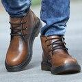 Sapatas Dos Homens de alta Qualidade Retro Genuína Botas de Couro Lace-Up de Fundo Grosso Sapatos Casuais Ao Ar Livre Alta Superior Botas de Caminhada para Os Homens