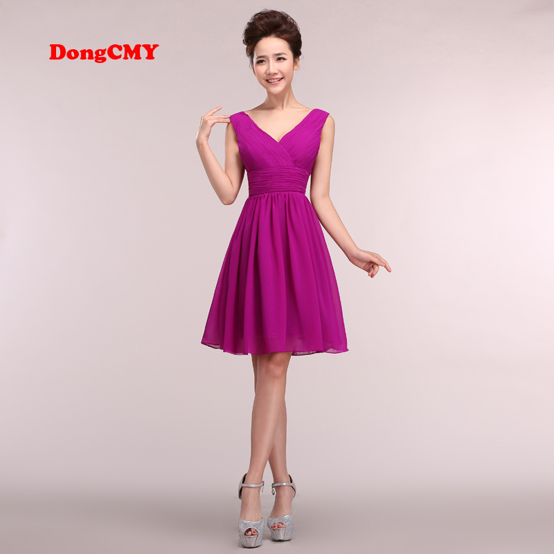 DongCMY 2020 New Arrival Short Prom Dresses V-Neck Plus Size Party Cheap Chiffon Bandage Gown