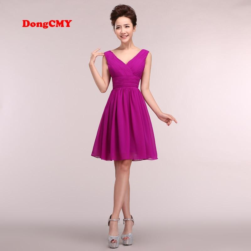 DongCMY CG089 2017 New arrival V-Neck Plus size party chiffon bandage short   prom     dress