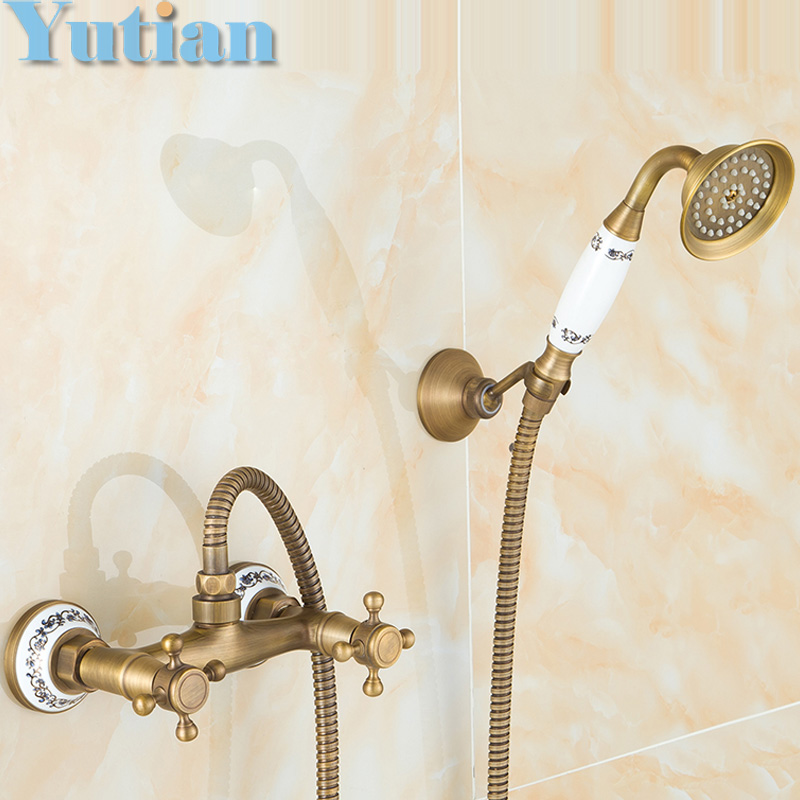 Buy Free Shipping Antique Brass Bathroom Bath Wall Mounted Hand Held Shower