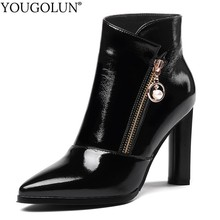 High Heel Ankle Boots Women Spring Autumn Ladies Thick Heel Shoes Beading A259 Fashion Woman Black Red Pointed Toe Zipper Boots цена в Москве и Питере