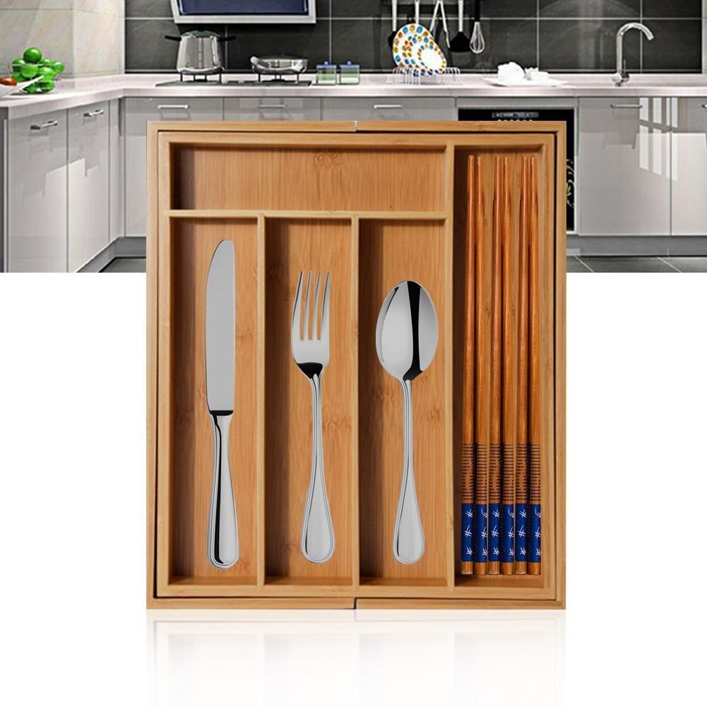 30 X 35 X 5 CM Childlike Bandeja para Cubiertos Bambu Organizador Cubiertos Cajon De Cocina Separadores De Cajones para Cocina//Oficina//Ba/ño//Dormitorio