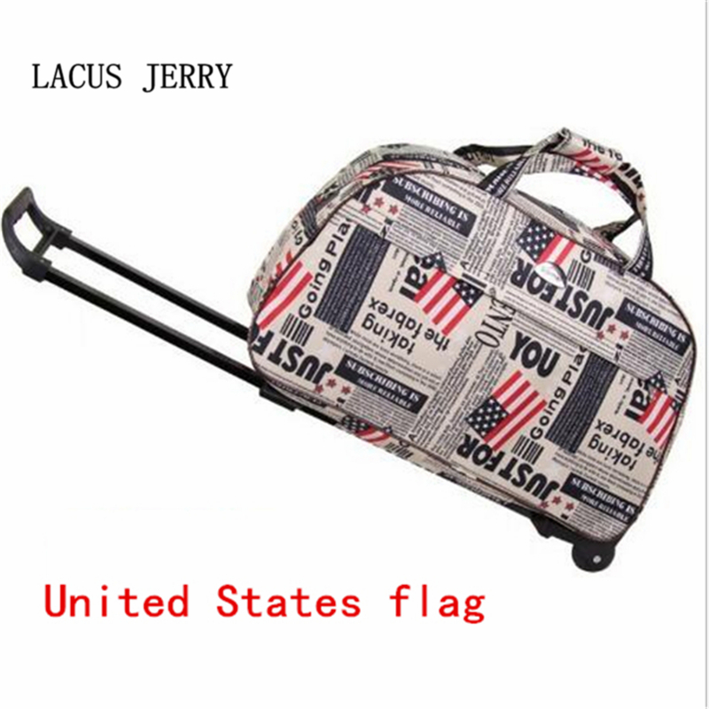 LACUS JERRY 2017New Waterproof Large Capacity Rod Travel Bag Multi-color Fashion Portable Trolley Bag Rolling Luggage Duffle Bag