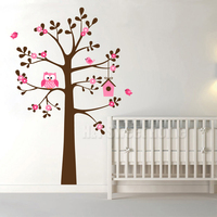 Owl Birds House Tree Flowers Vinyl Wall Sticker Decal Living Room Bedroom Kids Room Stickers Home Decor 125x180cm