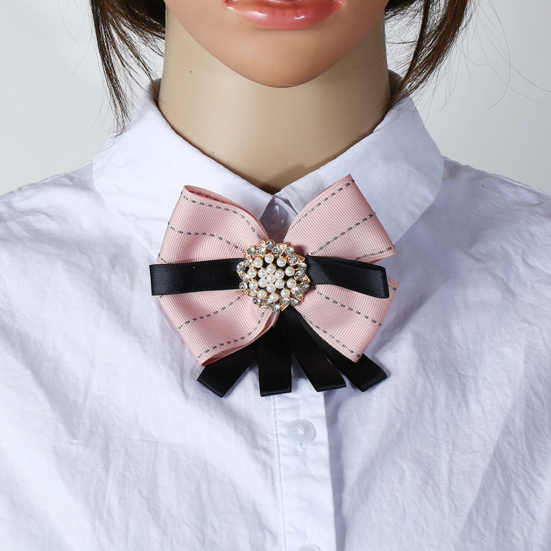 Korean Cute Fancy Crystal Fabric Bow Brooch Dress Shirt Blouse Cloth Flower  Pearl Ribbon Corsage Women Neck Tie Wear Duftgold-in Brooches from Jewelry  ... 607ec829523c