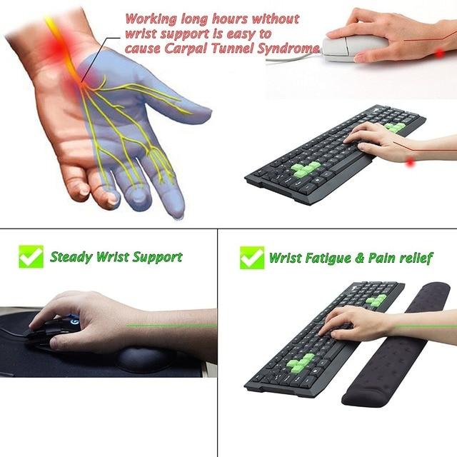Coussin ergonomique de repose-poignet de souris et de clavier de mousse de mémoire de BRILA pour le travail de bureau et le jeu de PC, soulagement de douleur de poignet