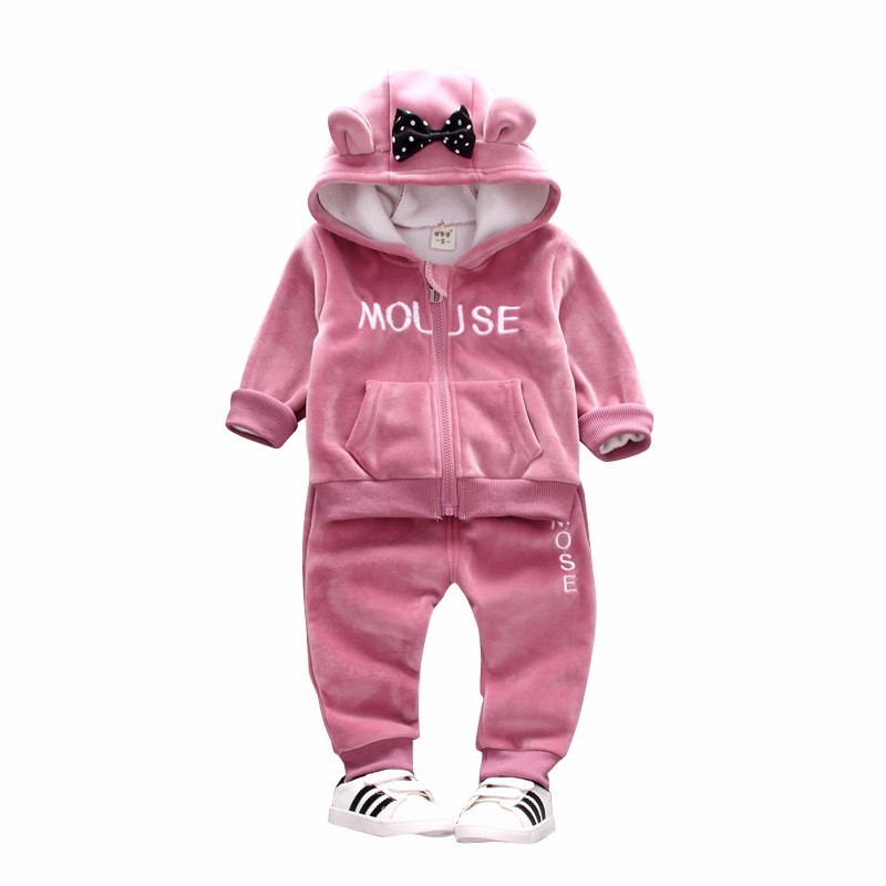 2019 Autumn Winter Baby Girls Clothing Sets Kids Casual Letter Bow Hooded Velvet Children's Sports Suits Clothes 1 2 3 4 Years