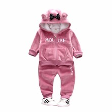 2019 Autumn Winter Baby Girls Clothing Sets Kids Casual Letter Bow Hooded Velvet Childrens Sports Suits Clothes 1 2 3 4 Years
